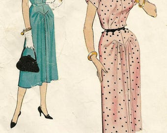 Vintage 50s McCalls 9676 Misses Day Dress with Seam Detail and Shaped Neckline Sewing Pattern Size 18 Bust 36
