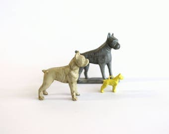 Vintage Boxer Dog Figurine Collection Set Plastic Rubber Collectible Shelf Decor Dog Lover Gift