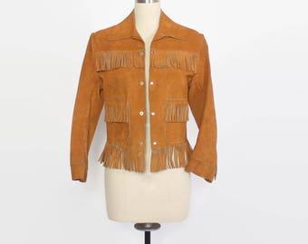 Vintage 70s FRINGE JACKET / 1970s Golden Suede LEATHER Cropped Western Jacket xs