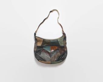 Vintage 80s Patchwork Leather Bag / 1980s Slouchy Hobo Purse Shoulder Bag