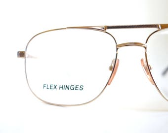 1980s Double Bridge Aviator Mens Oversized Aviators Sunglasses Retro Optical Frames 80s Metallic Gold Shiny Glam Rocker Eighties