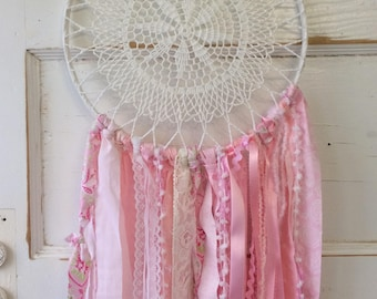 Pink Dream Catcher.  Handmade, READY TO SHIP.  Vintage center, One of a Kind.  Perfect Gift for Girls