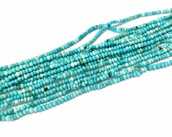 REAL TURQUOISE tiny micro rondelle beads full 15 inch long strand great color persian blue