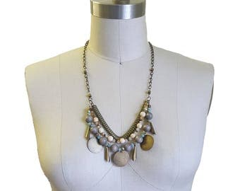 Mixed Metals Necklace in Bronze, Grey, Cream & Mint / Statement Necklace / Metal Chain Necklace / Metal Necklace / Wood Necklace / Roslin