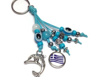 Greek Flag - dolphin - evil eye keyring - Greek flag - Car/home gift - car accessories - greek amulet - Made in Greece