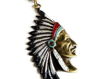 Hand Painted Native Chief Antique Bronze Necklace
