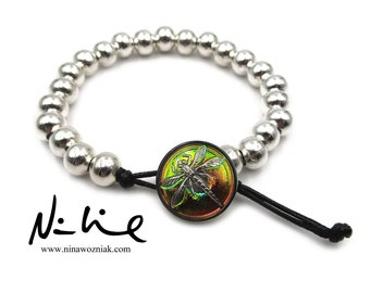 NEW Iridescent Rainbow Czech Glass Dragonfly - Silver Plated Brass Beaded - Adjustable Bracelet (SSBR156)