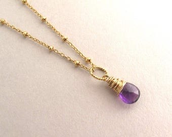 Genuine Amethyst Necklace, Petite Gold Amethyst Drop Necklace, February Birthstone Necklace, Gemstone Necklace, Dainty Pendant Necklace