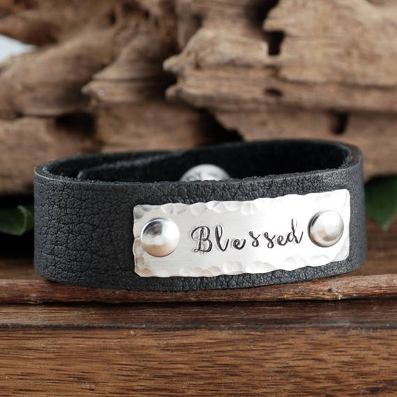 Blessed Bracelet, Inspirational Leather Cuff Bracelet, Bracelet for Women, Stamped Leather Bracelet, Faith Bracelet, Black Leather Bracelet