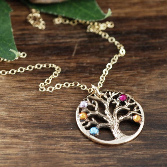 Grandma Family Tree Necklace, Gold Mother's Necklace, Grandmother Jewelry, Birthstone Family Tree Necklace, Tree of Life Jewelry, for Mom