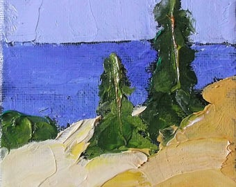 Miniature Impressionist Painting 4x4 Plein Air Landscape California North Coast Hills Lynne French