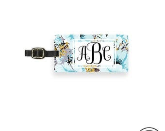 Personalized Luggage Tag,  Name or Monogram on Front, Printed Personalization Address on Back Single tag Blue Floral