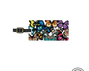 Luggage Tag Butterfly Butterflies Metal Tag -  Custom Information Printed On Backs Single Tag  Personalized