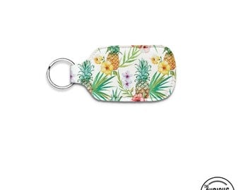 Tropical Pineapple Neoprene Lip Balm Keychain Key Chain Holder Carry Case