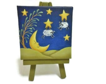 Mini Tole Painted Canvas and Easel   Mini Moonlight Scene on Three Inch Canvas