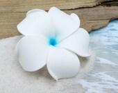Flower Hair Clip, Hawaiian Hair Flower, White and Blue, Floral Hair Clip