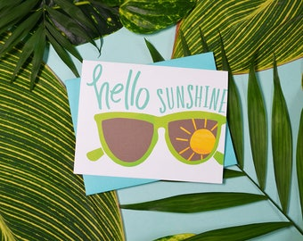 Hello Sunshine, Sunglasses, Summer Vibes, Watercolor, Beach, Sunny, Fun Stationery, Sunnies, Happy Summer, greeting card, illustration