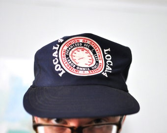 Unstructured Relaxed Vintage Mesh Baseball Cap Snapback 70s 80s Trucker Hat Navy Blue Local 4 Union Engineers Engineering