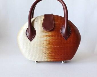 Vintage Le Sac Structured Rust Orange Ombre Straw Bag