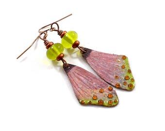 Pink and Green Butterfly Wings Boho Chic Earrings, Antique Copper Earrings, Pink, Artisan Earrings, Wing Earrings, OOAK, Big Earrings, AE233