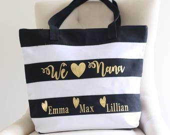 Personalized Gift For Grandma Tote Bag Black White Gold Grandchildren Christmas Gift Mothers Day Present