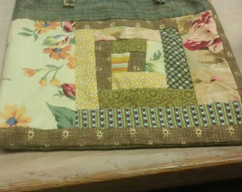 vintage patchwork bag, gypsy hippy, 2 bags in one, different both sides, patchwork shopper