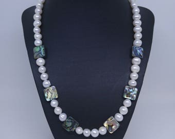 Pearls with Abalone Necklace, (Free delivery USA)