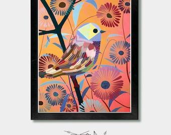 Mexican. Spotter. Eco Friendly Print. Birds, Bird Art, Arizona, Phoenix, Woodland, Nursery Art, Floral Wall, Flowers, Nature, Nursery