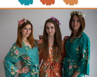 Teal, Copper and Rust Wedding Color Bridesmaids Robes - Premium Rayon Fabric - Wider Belt and Lapels - Wider Kimono sleeves