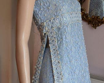"1960's Blue Lace Beaded Tabard Trouser Suit 34-36"" Bust 26-28"" waist"