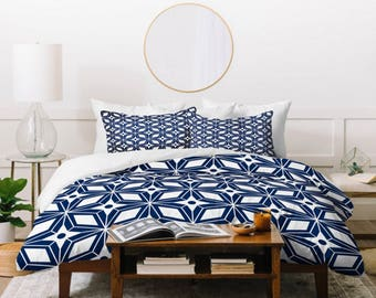Navy Blue Duvet Cover // Twin, Queen, King Sizes // Home Decor // Bedding // Starburst Navy Design // Midcentury Modern //  Bedroom // Blue