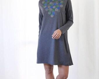 Gray Dress, Cotton Dress, Printed Dress, Tunic Top, Shirt Dress, Long Sleeve Dress, Tunic Dress, Winter Dress, Loose Dress, Gray Tunic