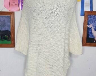 Knit Alpaca Poncho,  Drape Poncho, Suri Alpaca Poncho, Natural White Alpaca, One Size