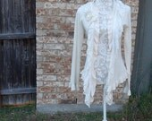 Altered Creme Sweater, Size Medium, Shabby Chic, Ruffled Embroidered Trim, BoHo, Mori-Girl Look, Romantic, Cottage Chic, Asymmretric Hem
