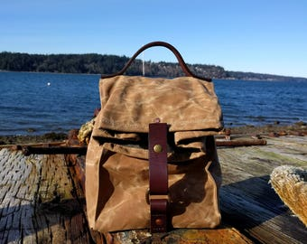 Field Tan Waxed Canvas, Cordura and Leather Insulated Lunch Bag