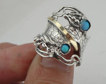 Opal ring, 925 Sterling Silver and 9k yellow gold ring, Long ring, Blue stone ring, any size, Gift, Free shipping, Gold Opal Ring (ms 1104)