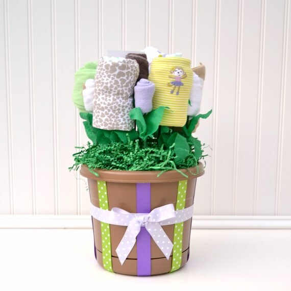 Girl Baby Shower Gift,  New Baby Gift Basket Girl, Pregnancy Gift Ideas, Push Present, Corporate Gift Ideas, Hospital Flowers Purple Brown