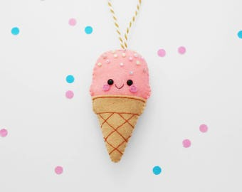 Coral Ice Cream Felt Decoration, Hanging Ornament, Foodie Kawaii Gift