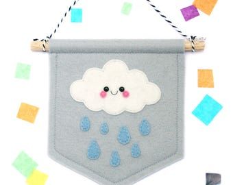 Grey Cloud Raindrop Banner, Felt Flag, Weather Gift, Cute Bedroom Decor