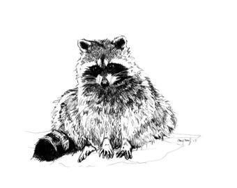 "5""x7"" Art Card of Trash Panda, (raccoon print) I Digital Print I Wall Decor"