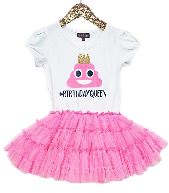 Emoji Birthday Poop Emoji Birthday Queen Girls Tutu Dress Pink Tutu Girls Party Dress ...