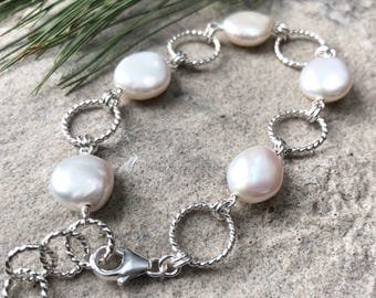 Freshwater Coin Pearl and Sterling Silver Link Bracelet - Unique Pearl Jewelry - Twisted Wire and Pearl Adjustable Bracelet