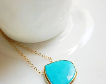 Pear Shape Turquoise Pendant Necklace in Gold