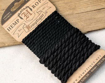 Black Hemp Rope, Nautical Rope, 4mm and 6mm  Twisted Rope,  Craft Rope -CH14
