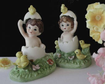 Hatching Egg Figurines * Young Boy And Girl In Hatching Egg * Egg With Chicks * Pair Of Matching Easter Figurines