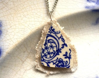 Broken china jewelry - china pendant necklace with chain - antique china shard on linen pendant - blue English transferware