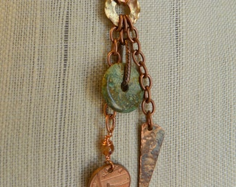 Relic Series - Penny For Your Thoughts - long dangle necklace with turquoise
