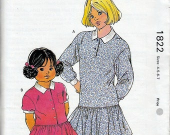 Girls Drop-waist Dresses Kwik Sew 1822 Sz 4 5 6 7 OOP Master Pattern NIP Uncut FF ©1988
