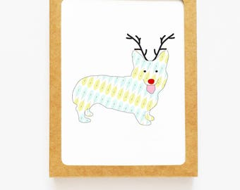 Holiday Corgi Dog Reindeer Card for Christmas Greetings or Happy New Year Cards