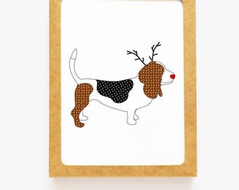 Holiday Basset Hound Dog Reindeer Card for Christmas Greetings or Happy New Year Cards